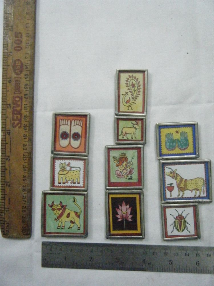 Decor Refrigerator Magnets Hand Color Painting Metal Frame Lot of 10 Pcs #071