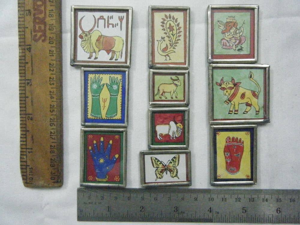 Decor Refrigerator Magnets Hand Color Painting Metal Frame Lot of 10 Pcs #070