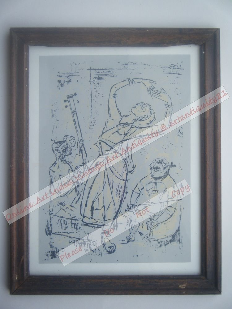 Dancing Lady Beautiful Signed Art Print in Old Handmade Wooden Frame India #2367