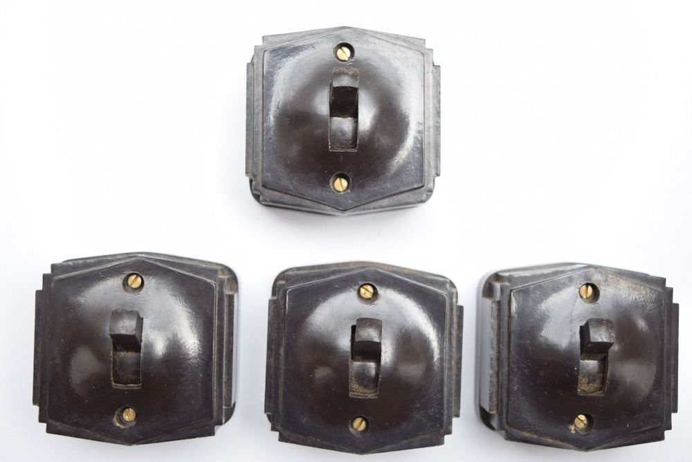 1950s Lot of 4 Rare Old Bakelite Electric Switch Indian Made Original #1328