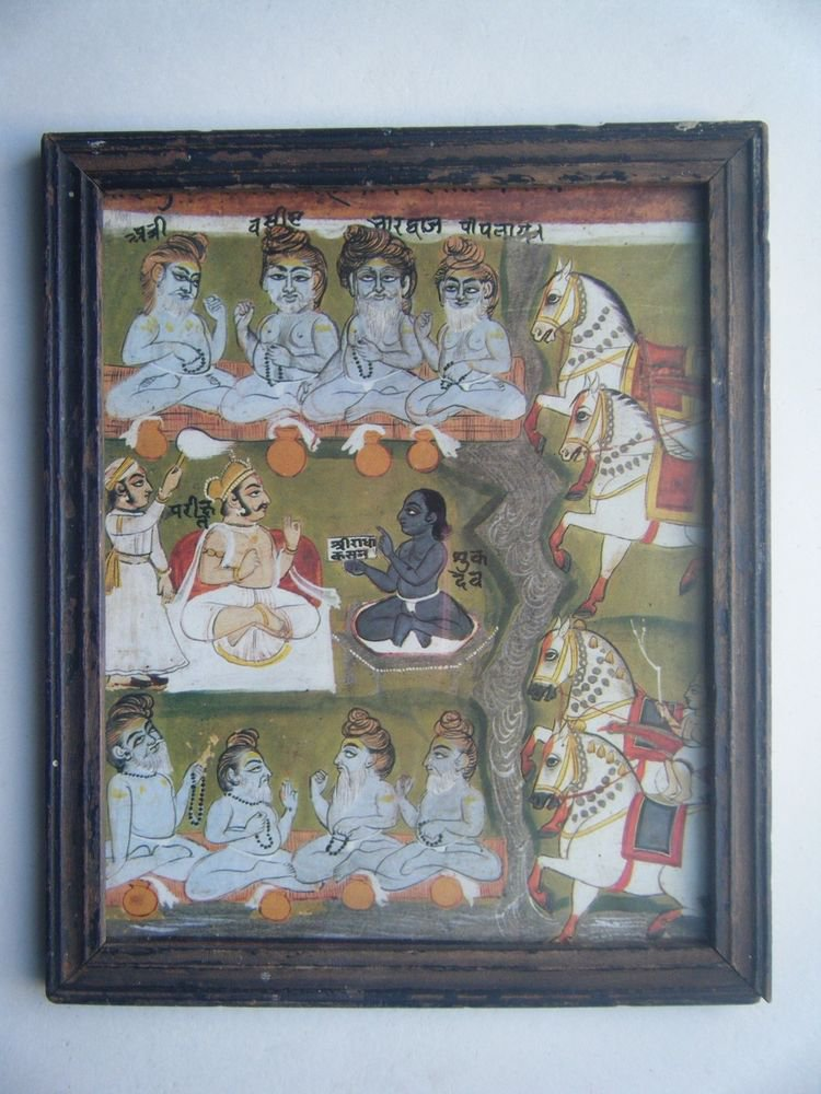 Miniature Old Religious Painting's  Print in Old Wooden Frame India Art #2837