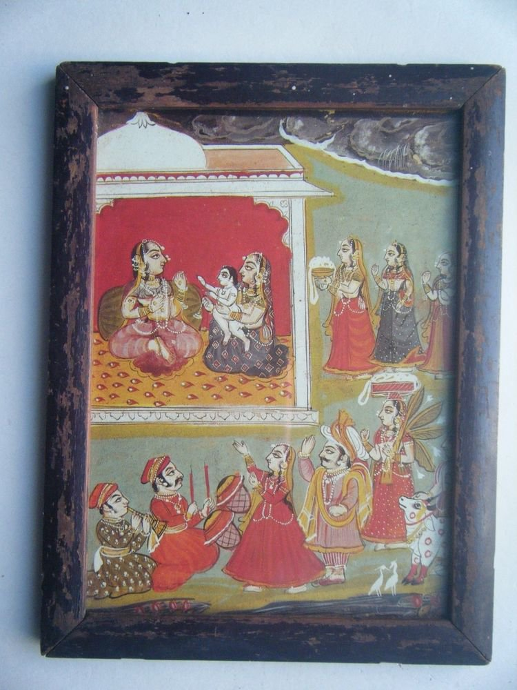 Miniature Old Religious Painting's  Print in Old Wooden Frame India Art #2831