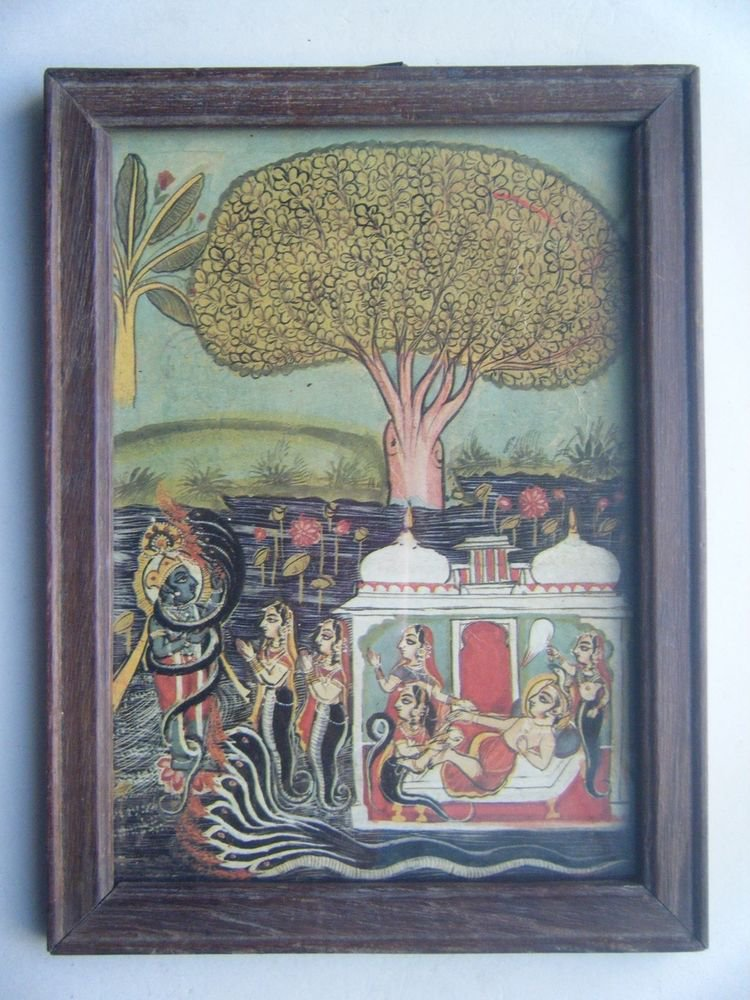 Miniature Old Religious Painting's  Print in Old Wooden Frame India Art #2835