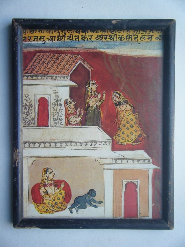 Miniature Old Religious Painting's  Print in Old Wooden Frame India Art #2836