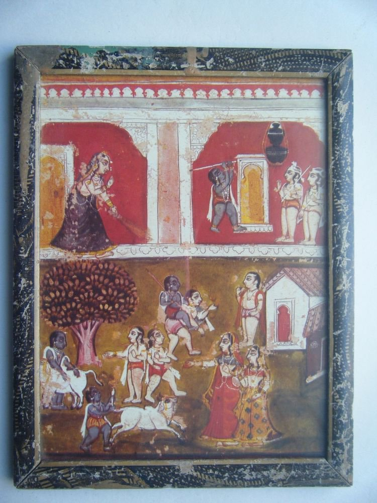 Miniature Old Religious Painting's  Print in Old Wooden Frame India Art #2838