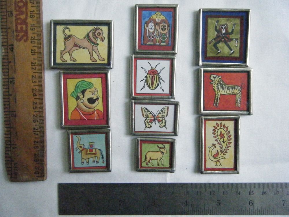Beautiful Freeze Magnets Hand Color Painting Metal Frame Lot of 10 Pcs Rare #062