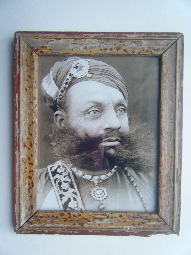 Indian Maharaja Rare Framed Photograph, Vintage Photo in Old Wooden Frame #2689