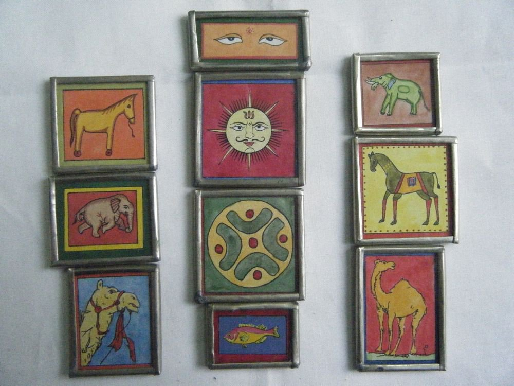 Beautiful Freeze Magnet Hand Color Painting Metal Frame Lot of 10 Pcs Rare #061