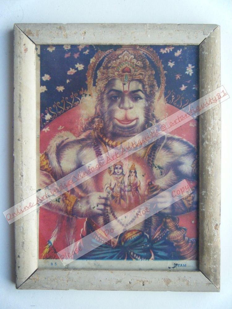 Hindu God Hanuman Vintage Old Religious Print in Old Wooden Frame India Art#2429