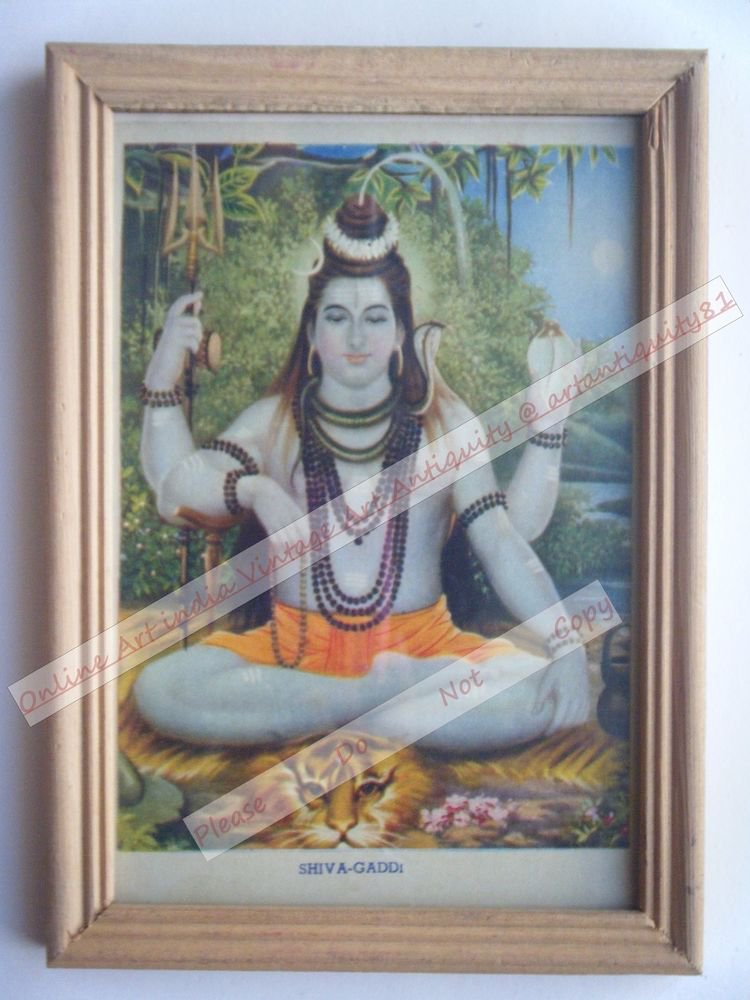 Hindu Lord Shiva Vintage Old Religious Print in Old Wooden Frame India Art #2402