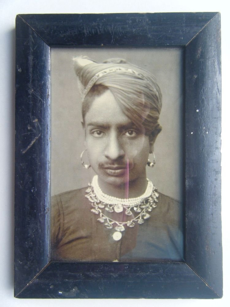 Indian Maharaja Rare Framed Photograph, Vintage Photo in Old Wooden Frame #2686