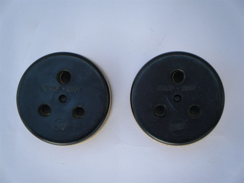 1950s Old Lot Of 2 Bakelite & Porcelain Electric Socket Made in India Rare #1180