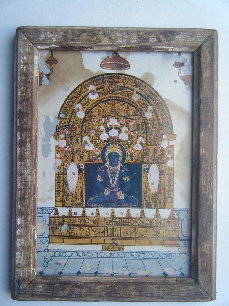 Jain God Original Old Vintage Print in Old Wooden Frame Religious Art #2808