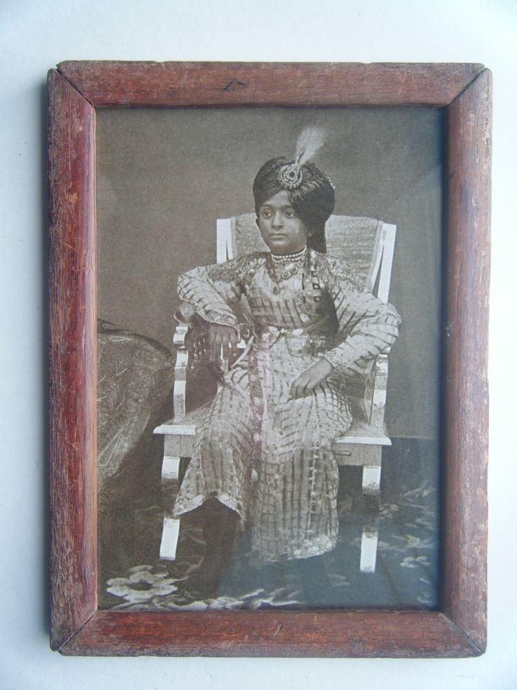 Indian Maharaja King Rare Photograph, Vintage Photo in Old Wooden Frame #2720