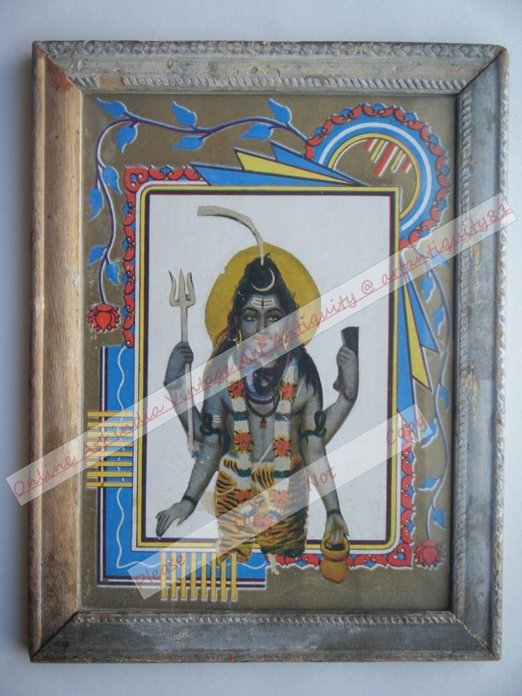 Hindu Lord Shiva Vintage Old Religious Print in Old Wooden Frame India Art #2394