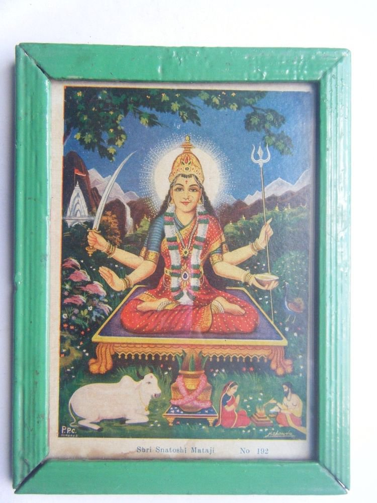 Goddess Santoshi Rare Old Religious Print in Old Wooden Frame India Art #2855