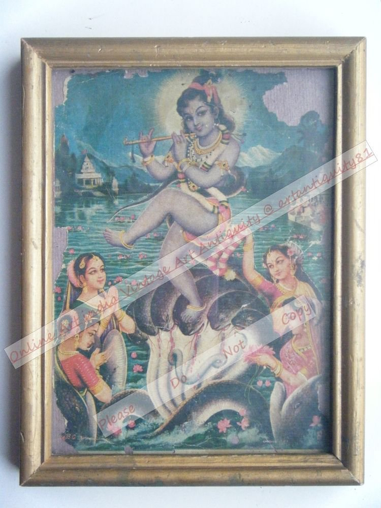 Hindu God Krishna Nice Old Religious Print in Old Wooden Frame India Art #2457