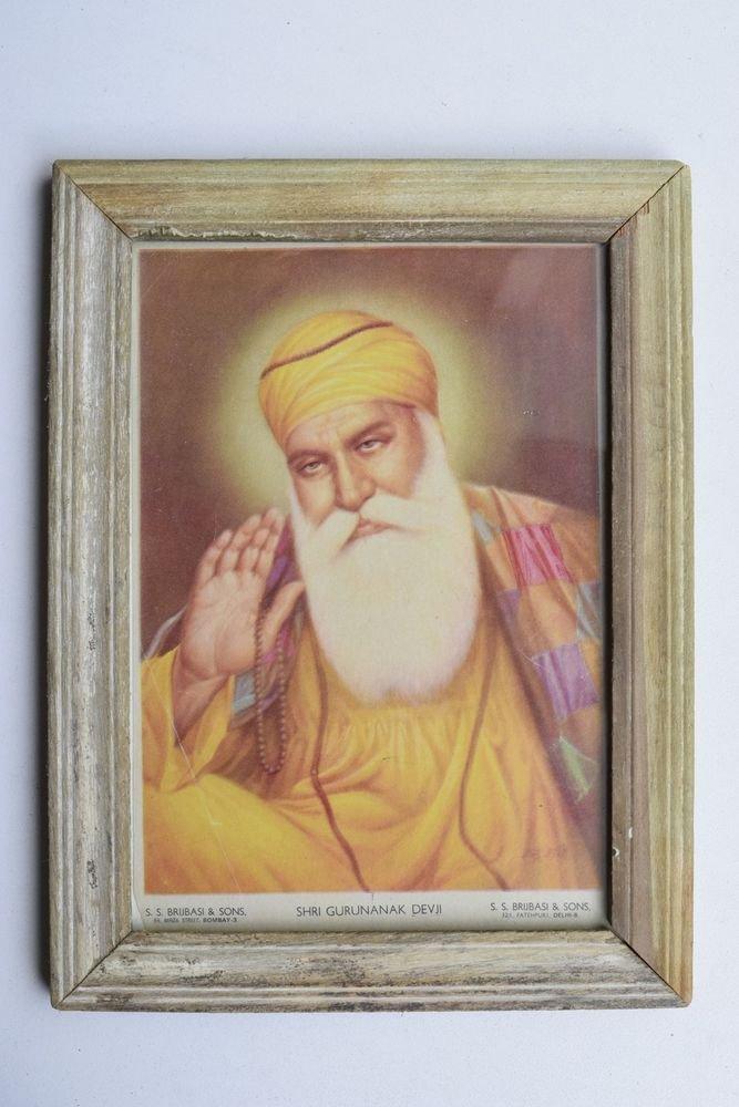 Sikh Guru Nanak Dev Ji Old Religious Print in Old Wooden Frame India Art #3216