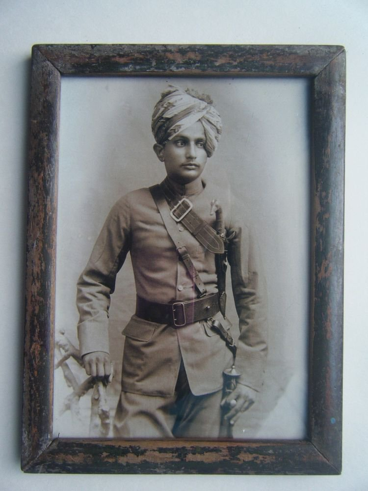 Indian Maharaja Rare Framed Photograph, Vintage Photo in Old Wooden Frame #2684