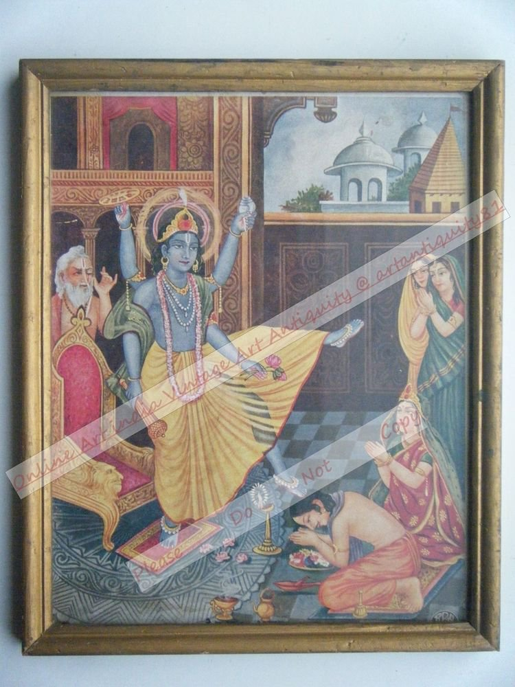 Hindu God Vishnu Rare Vintage Print in Old Wooden Frame Religious Art #2479