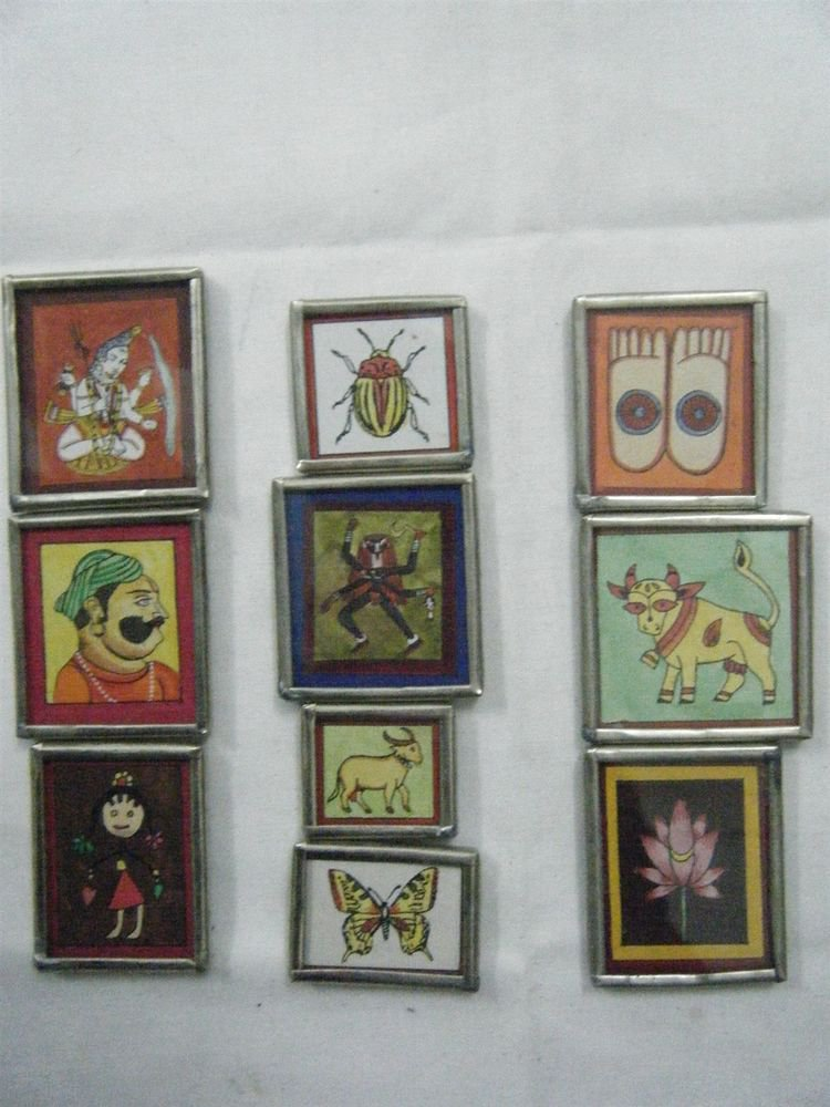 Collectible Freeze Magnets Hand Color Painting Metal Frame Lot of 10 Pcs #067