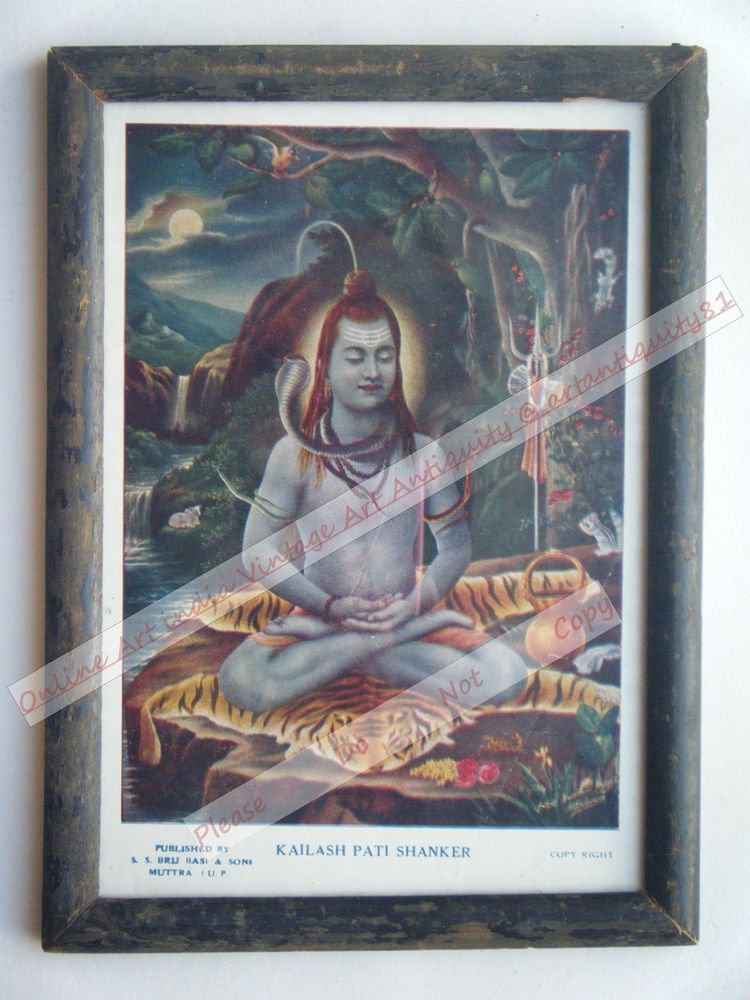 Hindu Lord Shiva Vintage Old Religious Print in Old Wooden Frame India Art #2403