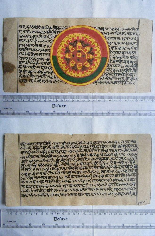 Rare Original Antique Old Manuscript Jain Cosmology New Hand Painting India#656