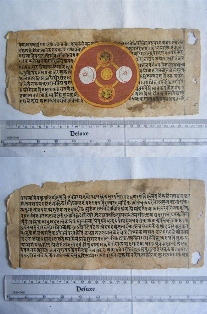 Rare Original Antique Old Manuscript Jain Cosmology New Hand Painting India#646