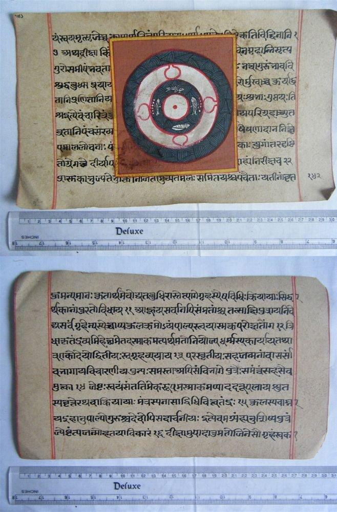 Rare Original Antique Old Manuscript Jain Cosmology New Hand Painting India#636