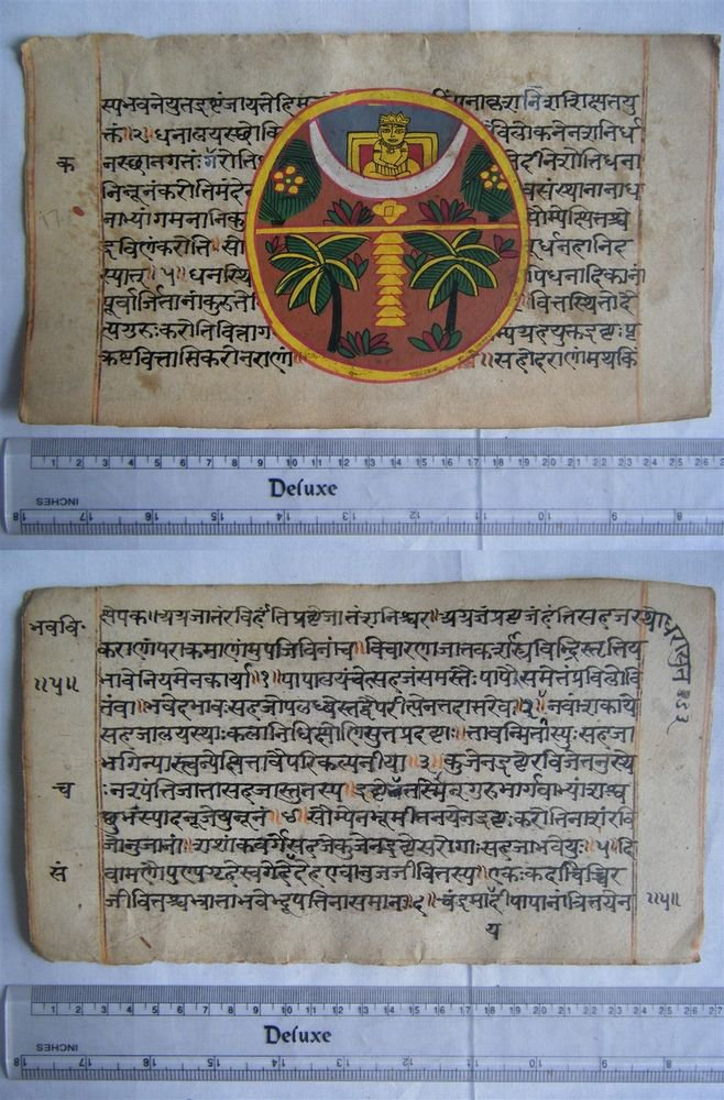 Original Antique Old Manuscript Indian Cosmology New Hand Painting Rare #598