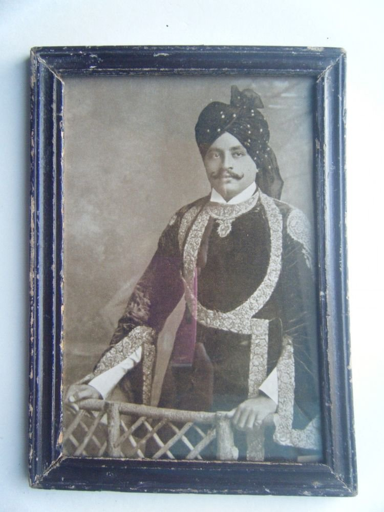 Indian Maharaja Rare Framed Photograph, Vintage Photo in Old Wooden Frame #2713
