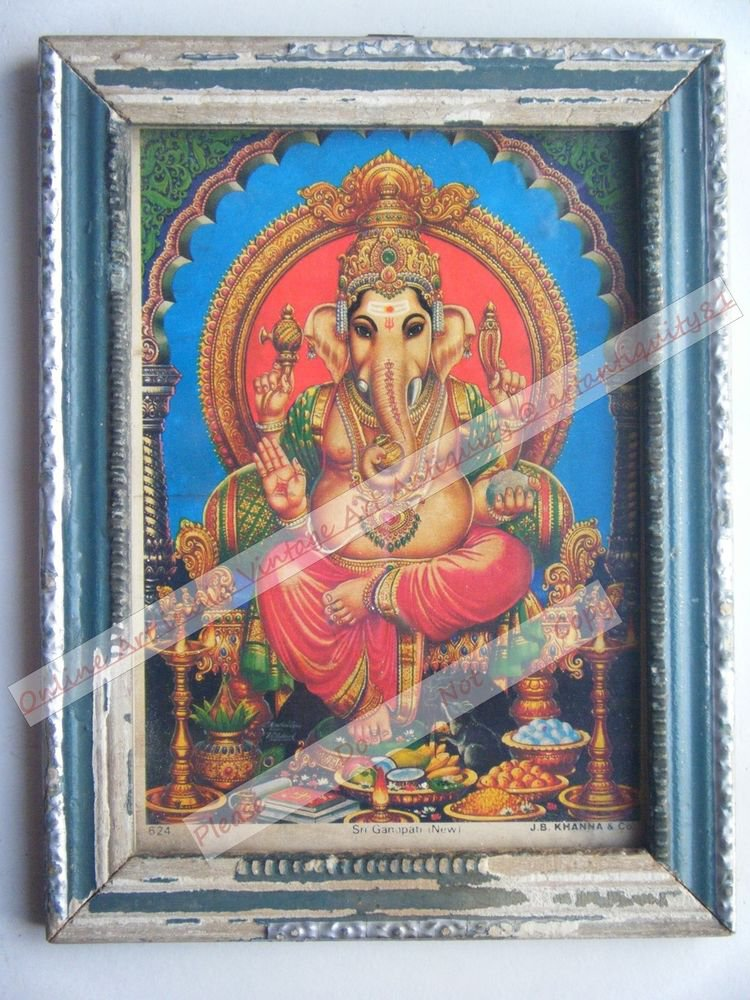 Hindu Elephant God Ganesha Vintage Print in Old Wooden Frame Religious Art #2438