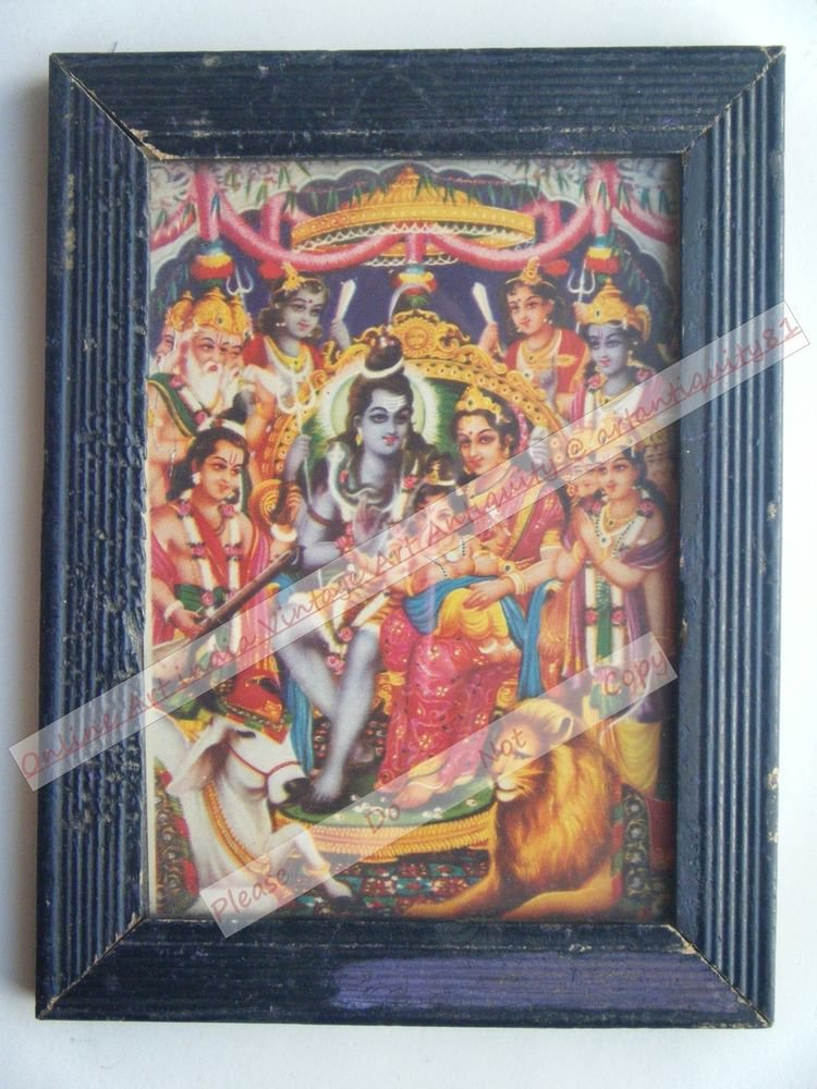 Shiv Parvati Vintage Old Religious Print in Old Wooden Frame India Art #2411
