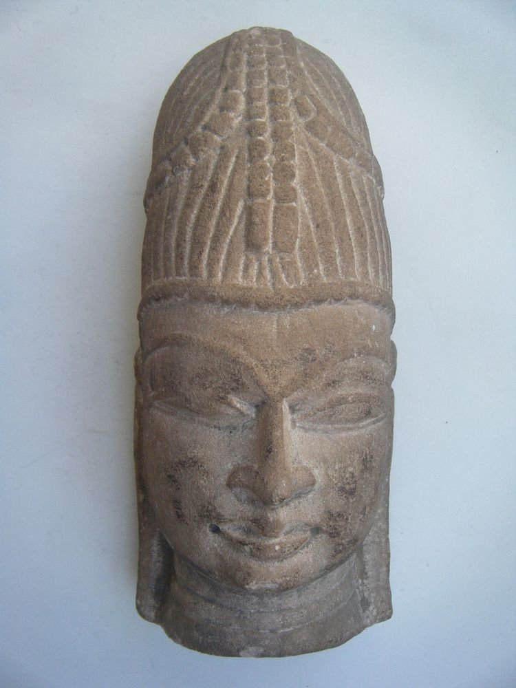 God Stone Statue Head, Vintage Antique Old Hand Carved Original God Head #482