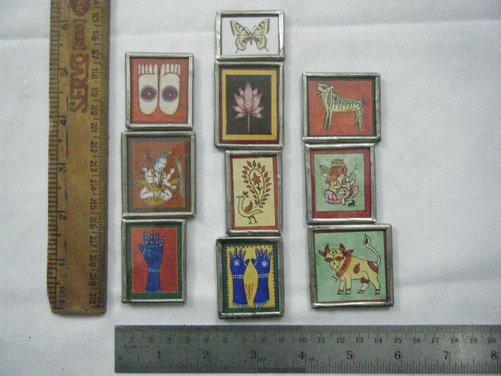 Decorative Freeze Magnets Hand Color Painting Metal Frame Lot of 10 Pcs Rare#066