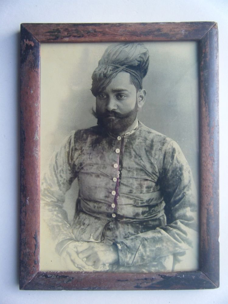 Indian Maharaja Rare Framed Photograph, Vintage Photo in Old Wooden Frame #2715