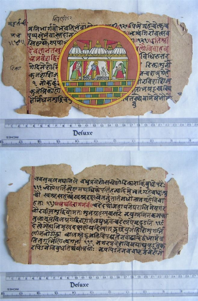 Original Antique Manuscript Old Jain Cosmology New Hand Painting Rare India #563
