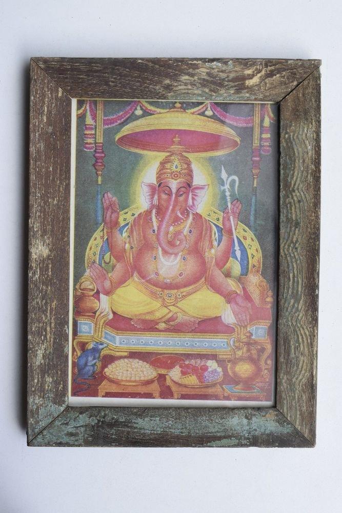 Elephant God Ganesha Rare Vintage Print in Old Wooden Frame Religious Art #3211
