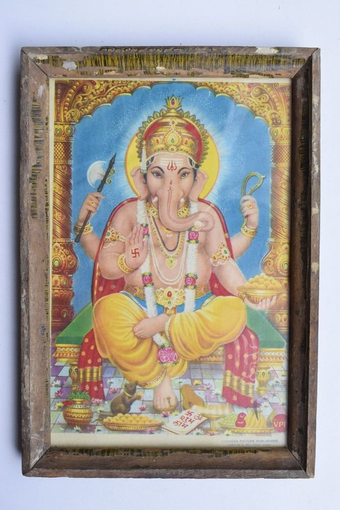 Elephant God Ganesha Rare Vintage Print in Old Wooden Frame Religious Art #3212