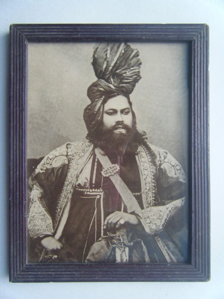 Indian Maharaja Rare Framed Photograph, Vintage Photo in Old Wooden Frame #2687