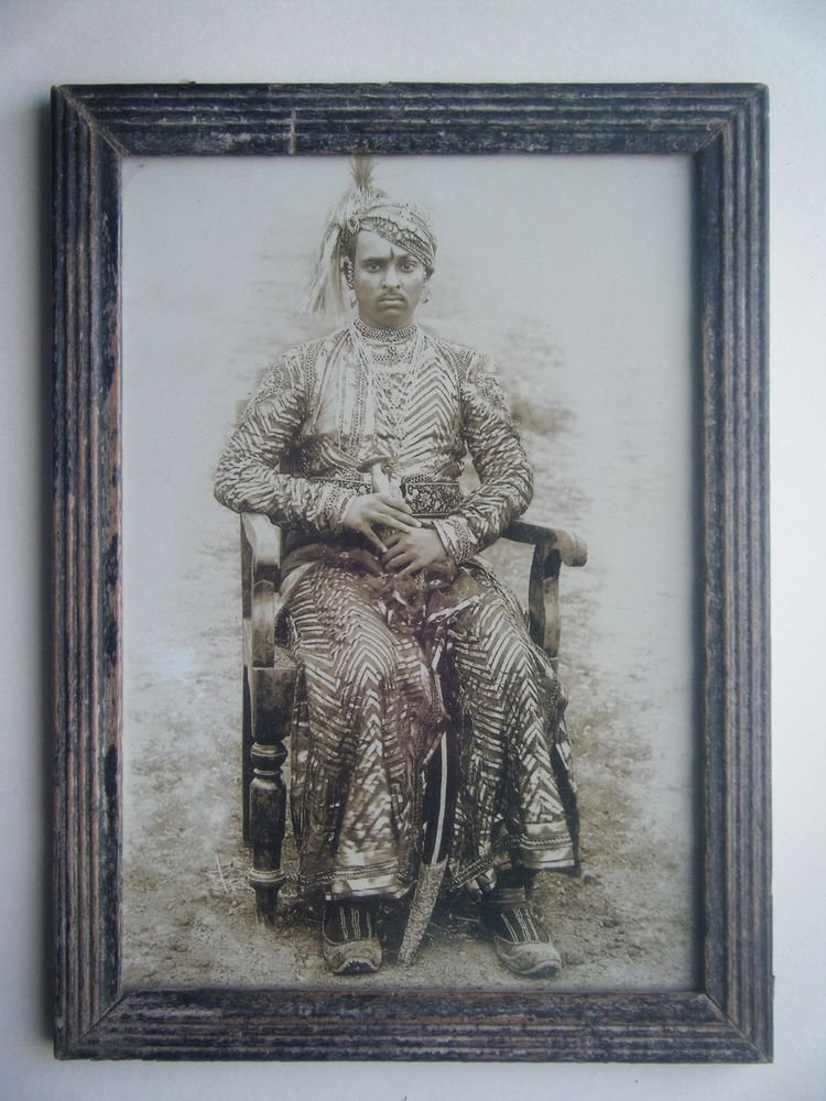 Indian Maharaja Rare Framed Photograph, Vintage Photo in Old Wooden Frame #2698