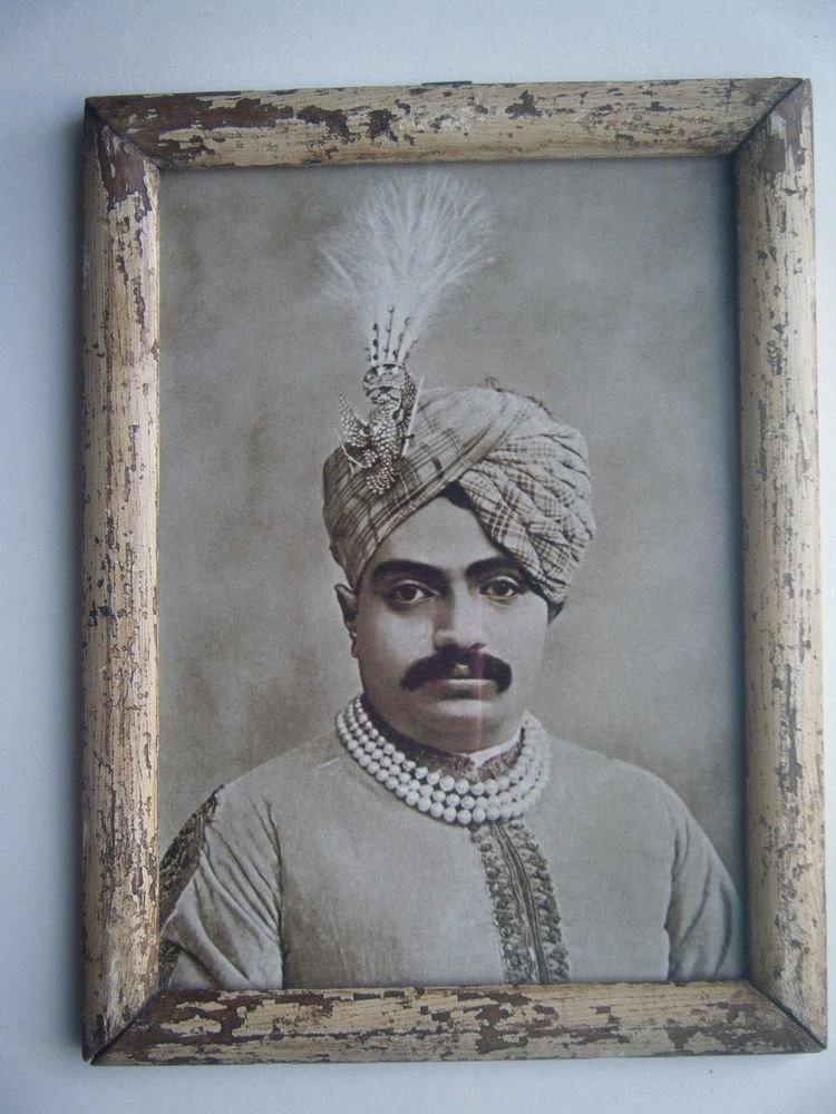 Indian Maharaja Rare Framed Photograph, Vintage Photo in Old Wooden Frame #2694