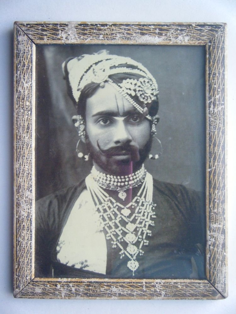 Indian Maharaja Rare Framed Photograph, Vintage Photo in Old Wooden Frame #2708