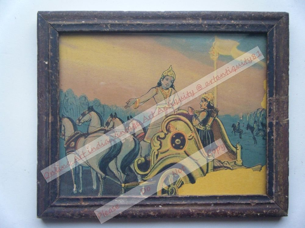 Hindu God Krishna Nice Old Religious Print in Old Wooden Frame India Art #2450
