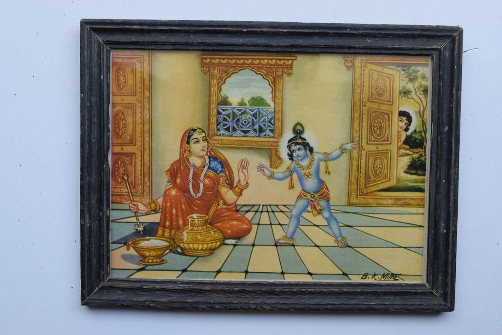 Baby Krishna Collectible Rare Old Art Print in Old Wooden Frame from India #3285