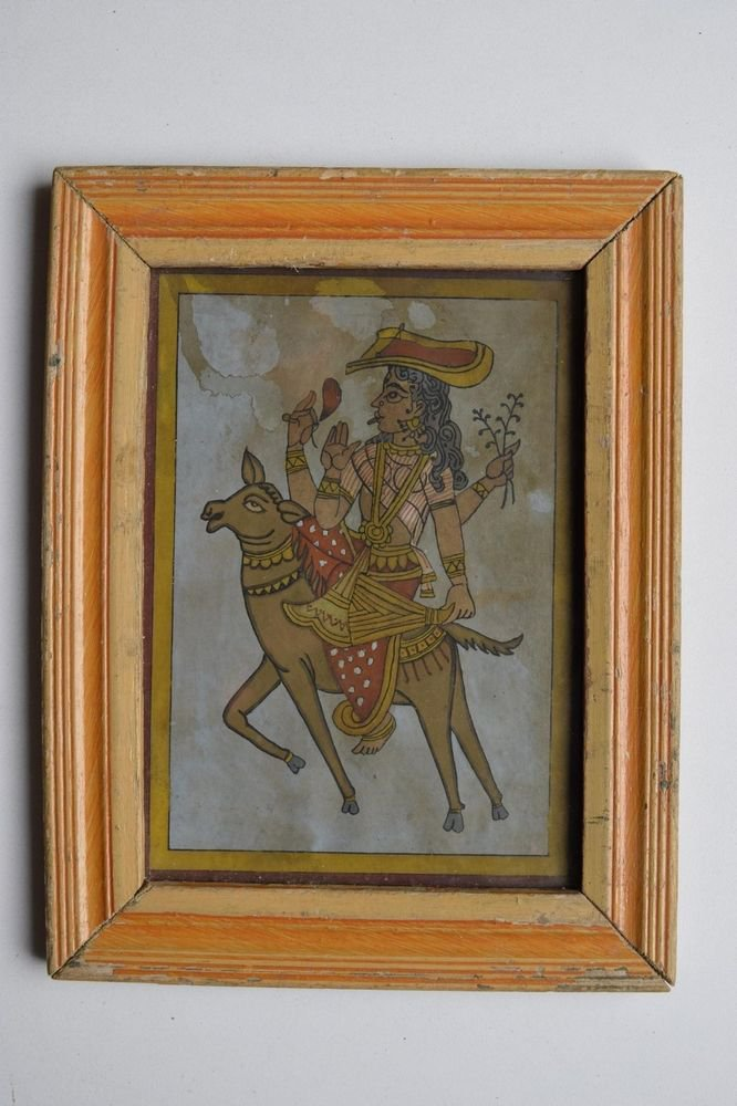 Beautiful Hindu Goddess Hand Color Folk Painting in Old Wooden Frame India #3090