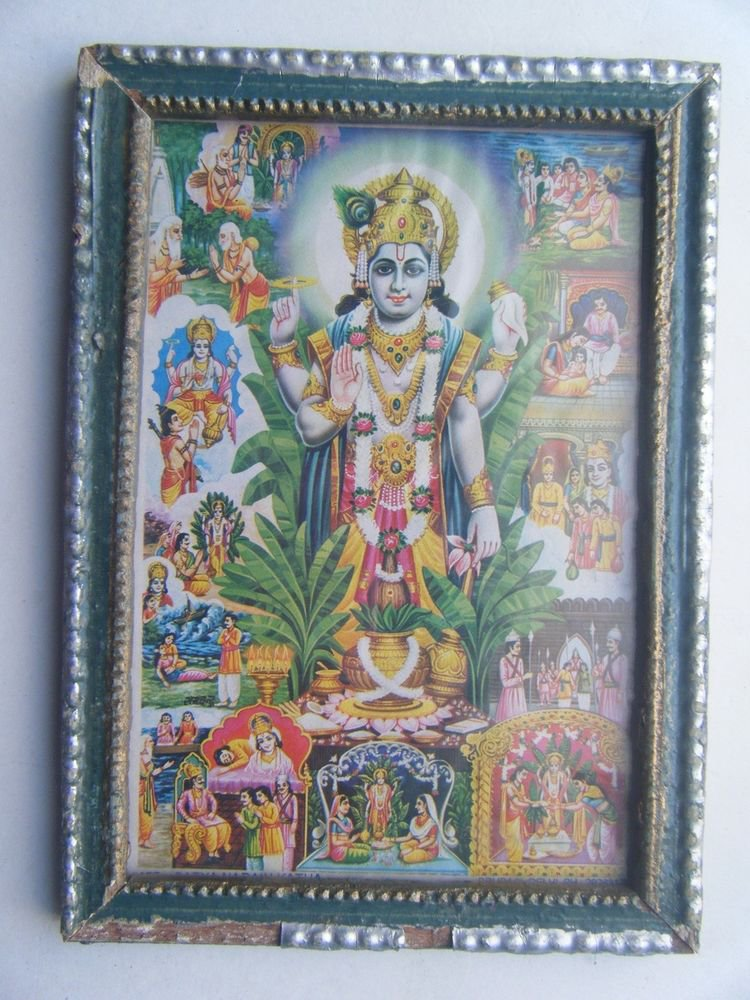 Hindu God Vishnu Original Vintage Print in Old Wooden Frame Religious Art #2809