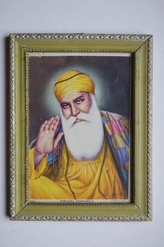 Sikh Guru Nanak Dev Ji Old Religious Print in Old Wooden Frame India Art #3144