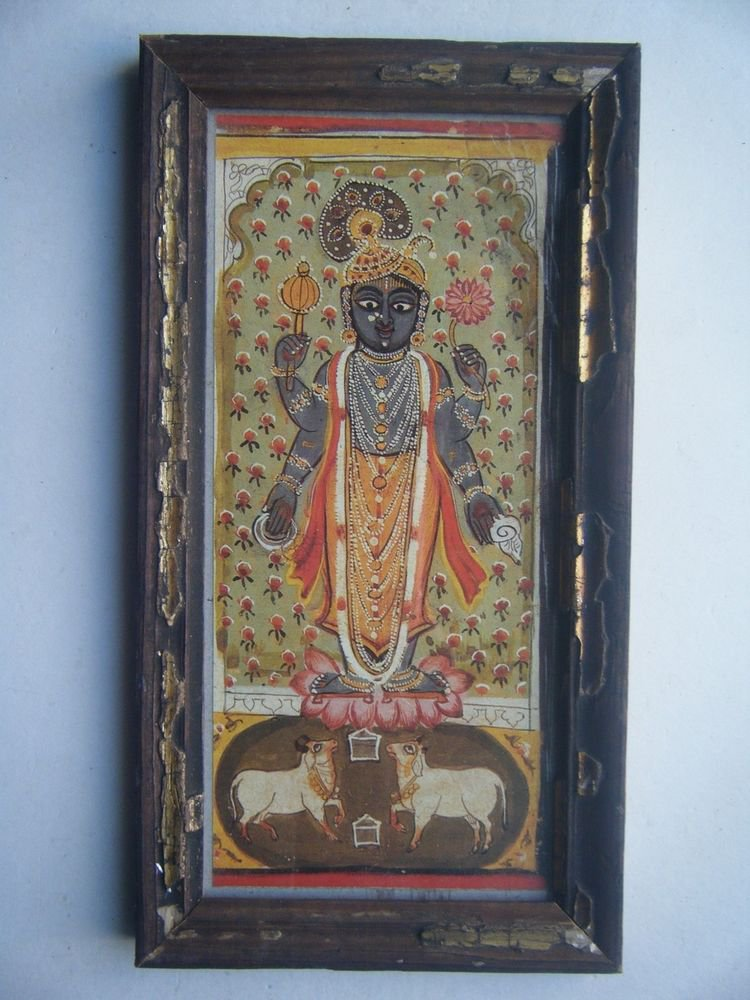 Hindu God Krishna Nice Old Religious Print in Old Wooden Frame India Art #2819