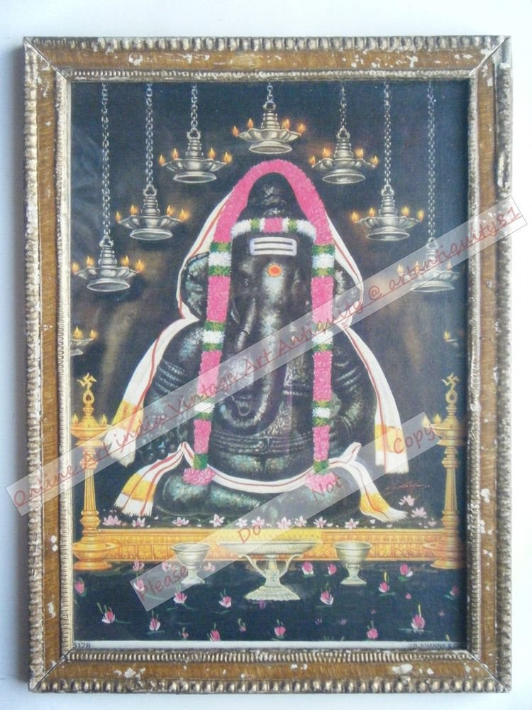 Hindu Elephant God Ganesha Vintage Print in Old Wooden Frame Religious Art #2444